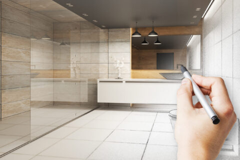 Hand drawing beautiful bathroom interior. Architecture concept. 3D Rendering